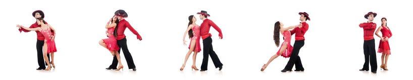 Os pares de dançarinos isolados no branco Fotos de Stock