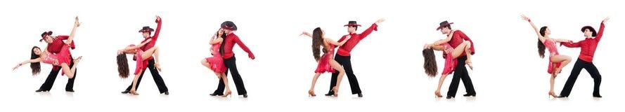 Os pares de dançarinos isolados no branco Fotografia de Stock
