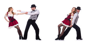 Os pares de dançarinos que dançam a dança moderna isolada no branco Imagens de Stock Royalty Free