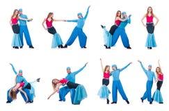 Os pares de dançarinos que dançam a dança moderna isolada no branco Foto de Stock Royalty Free