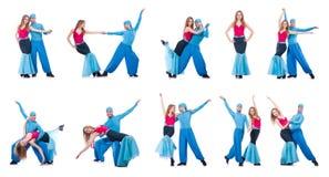 Os pares de dançarinos que dançam a dança moderna isolada no branco Foto de Stock