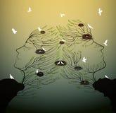 Os pares de povos olham como silhuetas dos ramos de árvore com o ninho do pássaro que cresce na rocha, na família e nos ralations ilustração do vetor