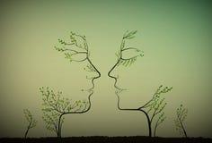 Os pares de povos olham como silhuetas dos ramos de árvore, dois perfis de abaixam o conceito, ilustração royalty free