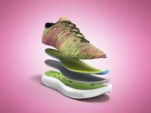 Os pares de sapatas cor-de-rosa do esporte pelas camadas 3d rendem no fundo cor-de-rosa Fotos de Stock Royalty Free