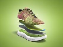 Os pares de sapatas cor-de-rosa do esporte pelas camadas 3d rendem no fundo verde Foto de Stock Royalty Free