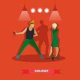 Os pares do cantor cantam uma música na fase Ilustração do vetor no projeto liso do estilo Imagem de Stock Royalty Free