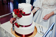 Os pares do casamento cortaram o bolo de casamento com rosas vermelhas e fita Foto de Stock
