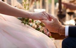 Os pares do casamento que guardam as mãos Imagem de Stock