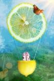 Os pares do dedo voam no meio balão de ar do limão Fotos de Stock