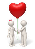 Os pares do dia de Valentim 3d que dão o coração vermelho balloon Fotos de Stock Royalty Free