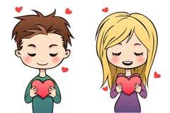 Os pares do Valentim com corações vermelhos Fotografia de Stock