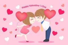 Os pares dos desenhos animados tomam o balão do coração Foto de Stock Royalty Free