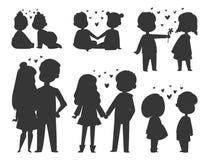 Os pares em caráteres do vetor do amor mostram em silhueta o adulto romântico de sorriso feliz do amorousness da mulher dos povos ilustração stock