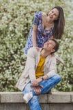 Os pares equipam e mulher feliz e ativa Imagem de Stock