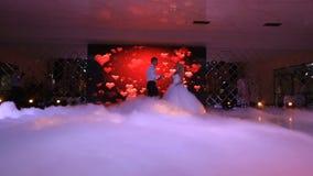 Os pares felizes bonitos de recém-casados estão dançando sua primeira dança no fundo da visualização ótica com video estoque