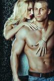Os pares heterossexuais de homem e de mulher atrativos Sexualy molharam Posi Imagens de Stock