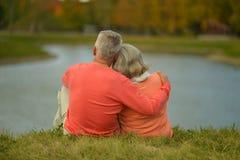Os pares idosos aproximam o lago Fotografia de Stock