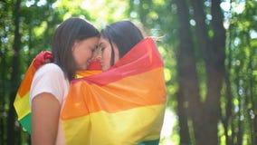 Os pares lésbicas participam em março para a igualdade de LGBT, publicamente sentimentos da mostra fotos de stock