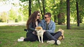Os pares loving entusiasmado dos jovens fussing o inu bonito do shiba do cão que risca sua pele, falando e rindo o assento sobre filme