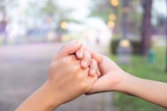 Os pares mantêm as mãos unidas no jardim do amor imagem de stock royalty free