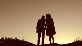 Os pares no amor beijam o passeio no vídeo de movimento lento do por do sol da natureza da silhueta A silhueta do homem e da mulh video estoque