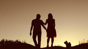 Os pares no amor beijam o por do sol de passeio no vídeo de movimento lento da natureza da silhueta A silhueta do homem e da mulh video estoque