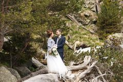Os pares no casamento attire com um ramalhete das flores e os verdes estão nas mãos de uma cachoeira no por do sol, noiva e imagens de stock royalty free