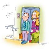 Os pares no elevador, e na ela ele, vão ao escritório Imagens de Stock Royalty Free