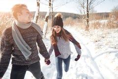 Os pares novos felizes no inverno estacionam ter o divertimento Família ao ar livre foto de stock royalty free