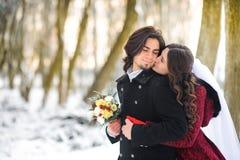 Os pares novos felizes, a noiva abraçarão e aninham-se no noivo imagem de stock royalty free