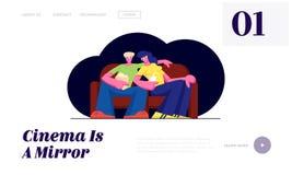 Os pares novos olham o filme no cinema com pipoca e bebidas nos vidros 3d que sentam-se no sofá no fim de semana Amor, lazer ilustração royalty free