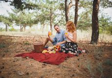 Os pares têm um piquenique na manta vermelha com frutos diferentes Foto de Stock Royalty Free