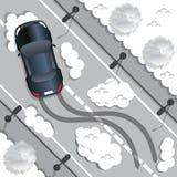 Os passeios do carro em uma estrada escorregadiço Fotos de Stock