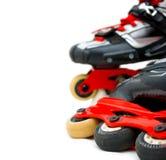 Os patins de rolo fecham-se acima, cópia-espaço Fotos de Stock Royalty Free