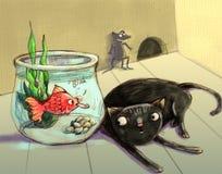 Os peixes amolam a ilustração do gato fotos de stock