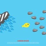 Os peixes comem a carne para o negócio Foto de Stock Royalty Free
