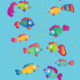 Os peixes comunicam o teste padrão sem emenda dos desenhos animados Fotografia de Stock