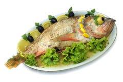 Os peixes cozidos isolaram-se Fotos de Stock