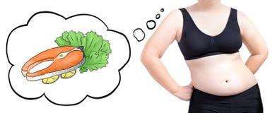 Os peixes de alimento de pensamento da bolha da mulher gorda fazem dieta o conceito isolados no fundo branco Fotografia de Stock Royalty Free