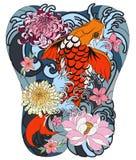 Os peixes de Koi com peônia florescem e acenam a tatuagem, tatuagem japonesa para o corpo traseiro Fotos de Stock Royalty Free