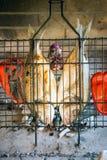 Os peixes de mar grelharam sobre os carvões quentes, grelhados com pimentas e cebolas foto de stock royalty free