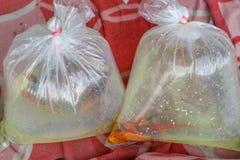 Os peixes do aquário embalaram em um saco de plástico para a venda em um mercado dentro foto de stock