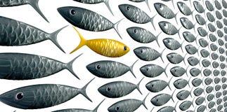 Os peixes educam contra a perspectiva da grão ilustração do vetor