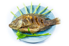 Os peixes fritaram isolado no branco Imagens de Stock