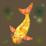 Os peixes poligonais brilhantes abstratos do ouro no fundo branco, projeto Fotos de Stock