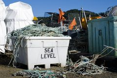 Os peixes são idos - equipamento de pesca armazenado Imagens de Stock
