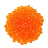 Os peixes vermelhos do caviar empilharam a opinião superior da pilha isolados no fundo branco foto de stock royalty free