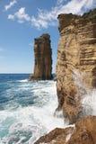 Os penhascos rochosos do litoral de Açores ajardinam em Ilheu a Dinamarca Vila Portug imagem de stock