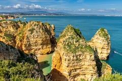 Os penhascos veem em Lagos, o Algarve Foto de Stock Royalty Free
