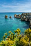 Os penhascos veem em Lagos, o Algarve Fotografia de Stock Royalty Free